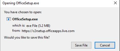 Save the Office Setup file