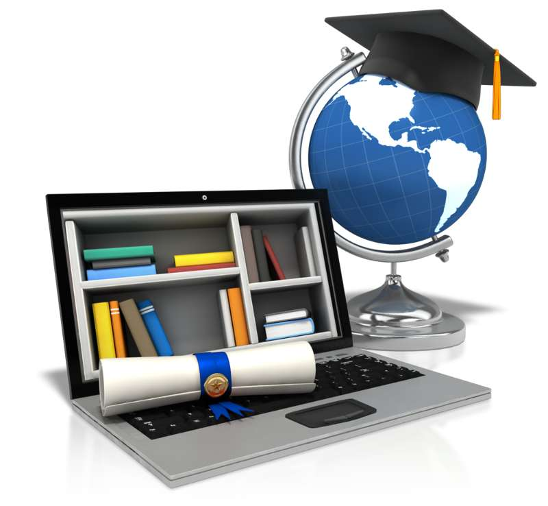 Cartoon of a diploma, mortar board, globe and laptop showing books to represent Distance Education.