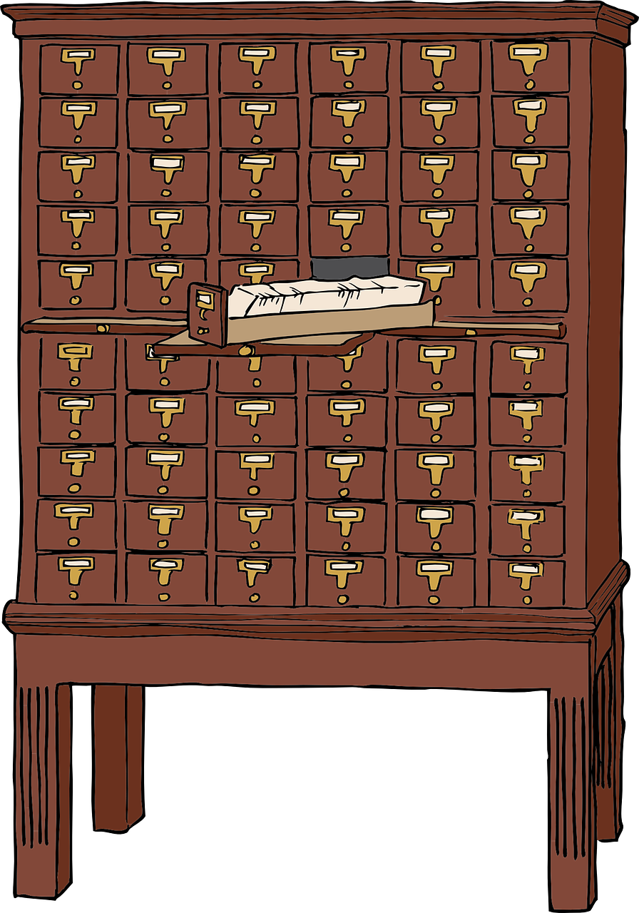 Picture of old card catalog.