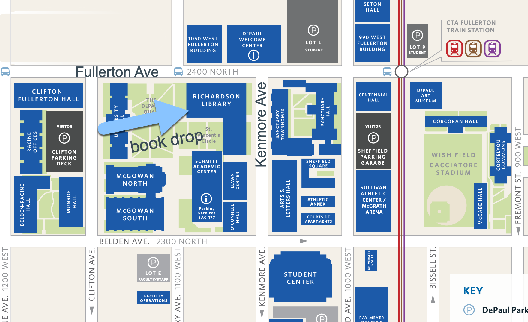 Map shows location of book drop on west quad side of library near Fullerton Ave