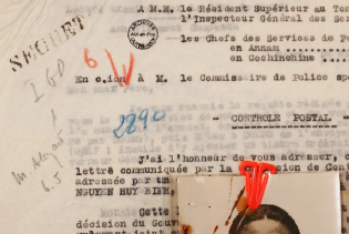 Police Photograph of Nguyễn Thị Minh Khai and note from Postal Censor from 1941, regarding her father's request for clemency in her death sentence (Detail), 2015. Courtesy of the artist. Archive Nationales d'Outre-Mer, Aix-en-Provence, France.