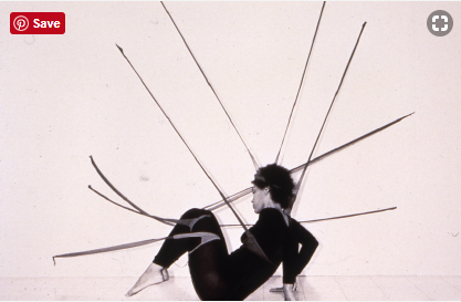 Senga Nengudi, R.S.V.P. sculptures activated by the artist in Performance Piece, 1977/2014. Photograph Copyright Harmon Outlaw, Pearl C. Wood Gallery, Los Angeles.