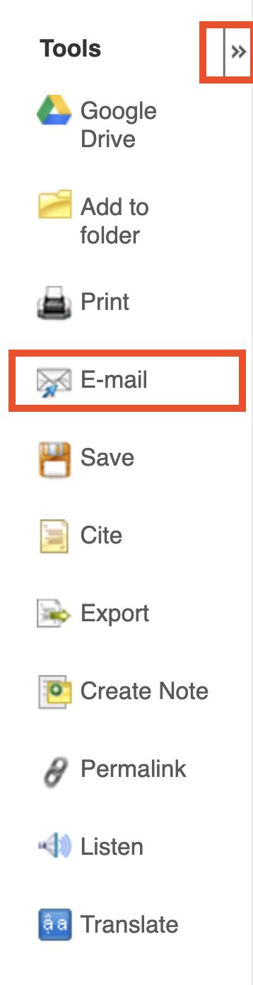 EBSCO Tools Menu with email and arrows highlighted