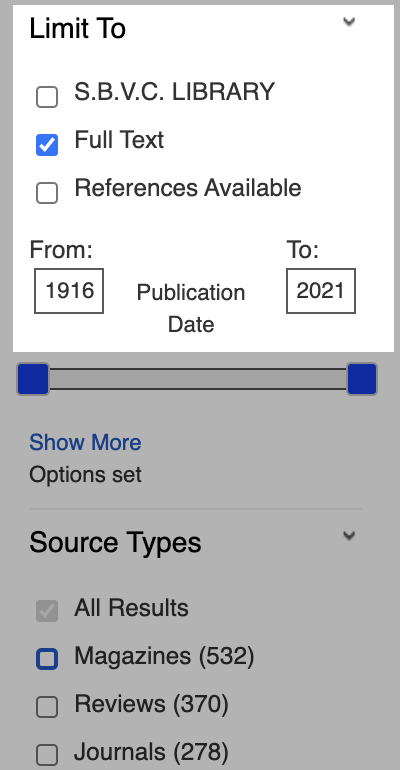 EBSCO Limit To and Publication Date highlighted