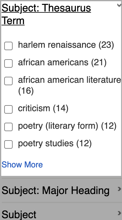 EBSCO Subject Thesaurus Terms highlighted