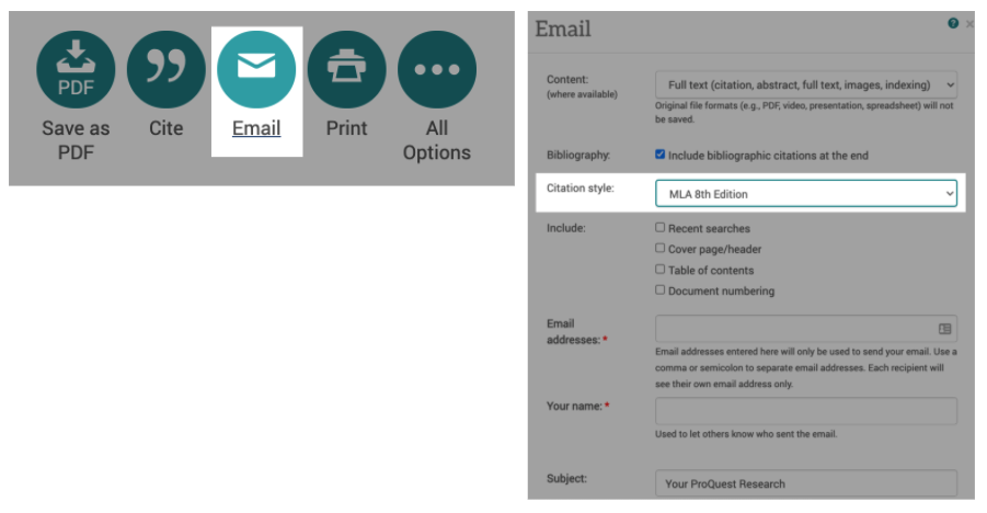 ProQuest email icons and popup