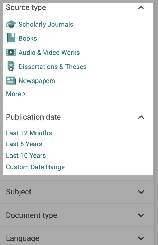 ProQuest filters: Source Type and Date highlighted