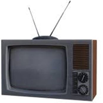 "Old television with ""rabbit ears"""