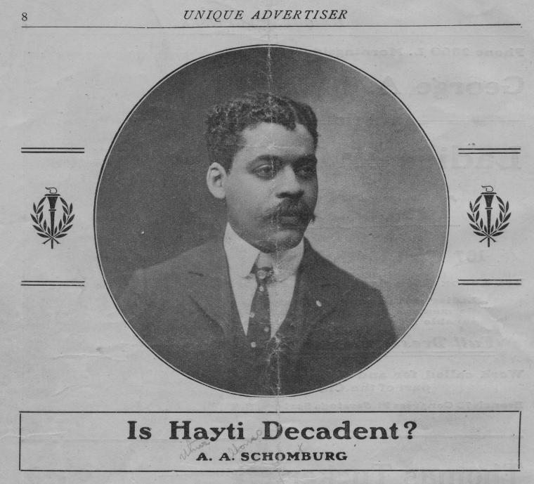 """""""Is Hayti Decadent?"""" by A.A. Schomburg printed pamphlet"""