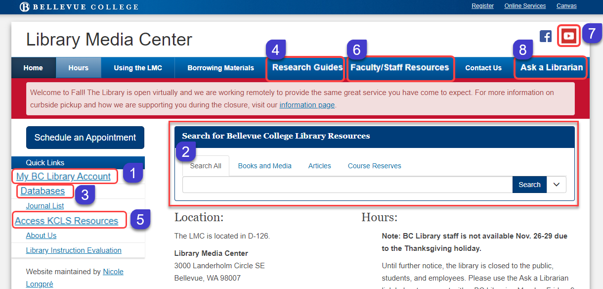 Where you can access library resources from the library Homepage.
