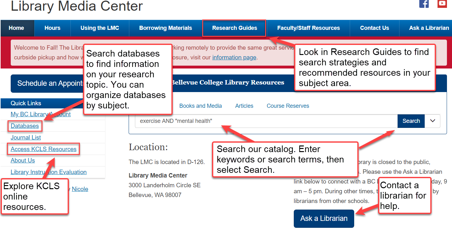 Location of research resources on Library homepage and short description of each.