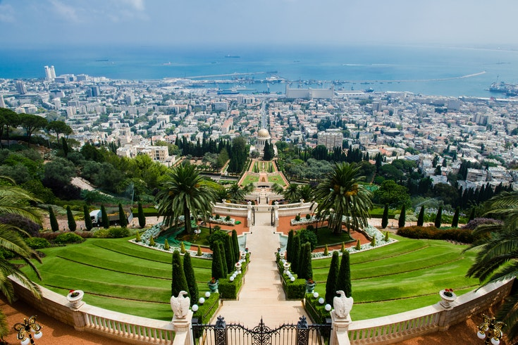 A panoramic view from the Bahai Gardens in Haifa down over the city to the sea