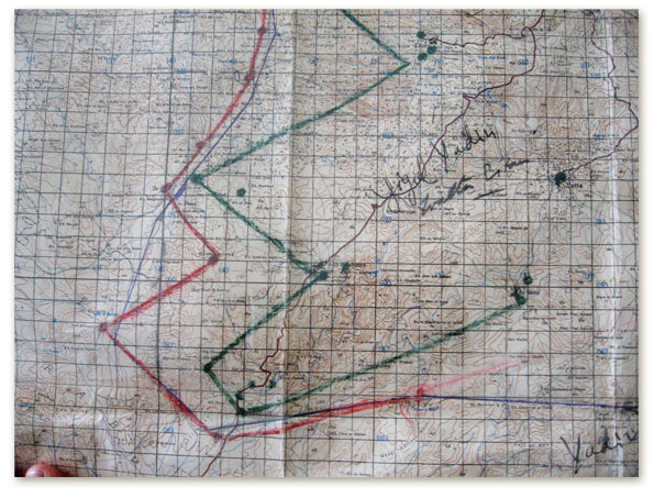 Red and green zig zags on graph paper