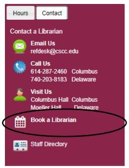 Contact box with Book a Librarian circled