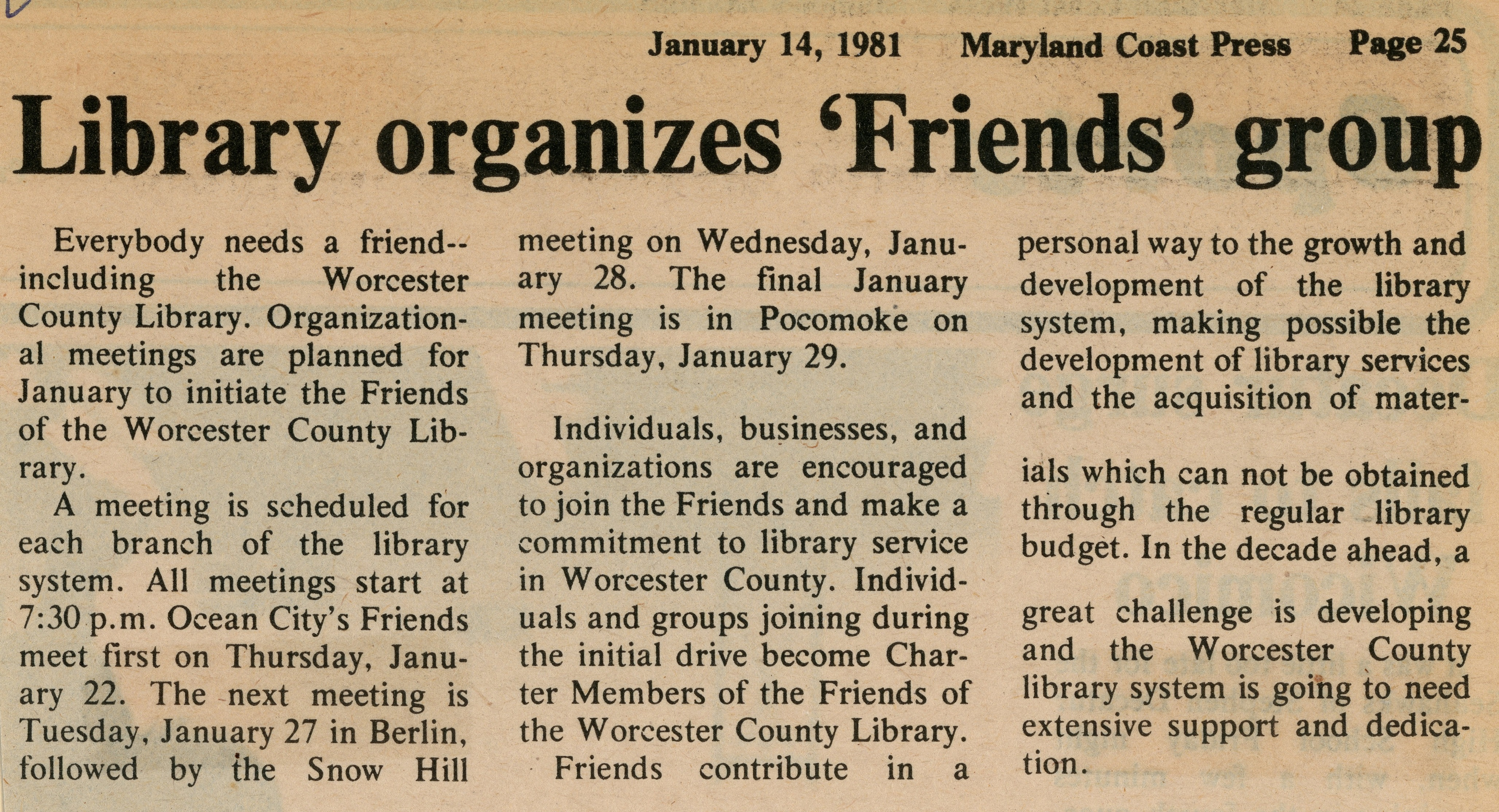 Friends of the Worcester County Library