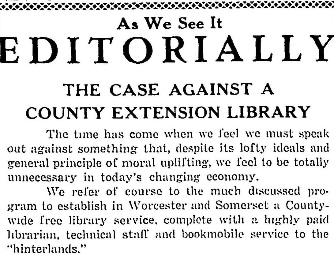 Against a Library System by the Pocomoke Library in 1958