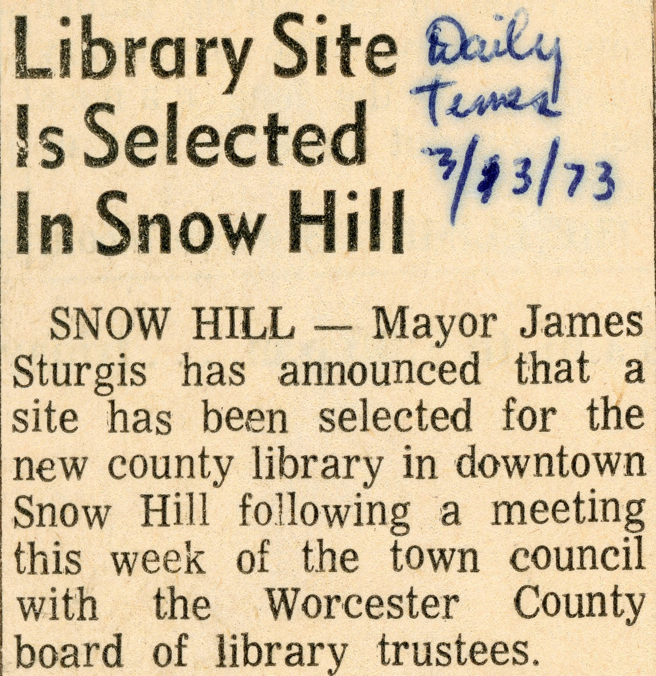 New Snow Hill Library
