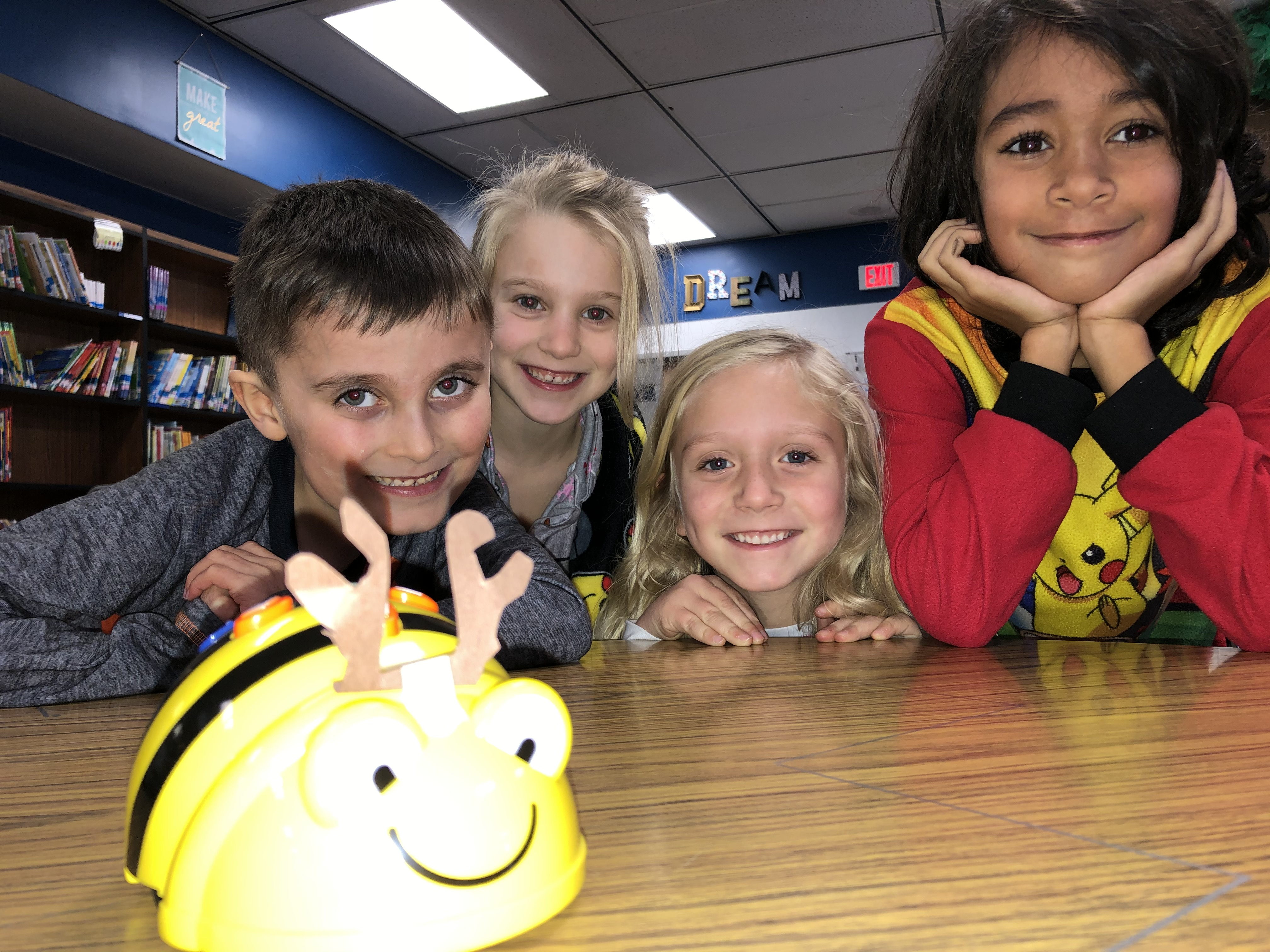Students with Beebot image