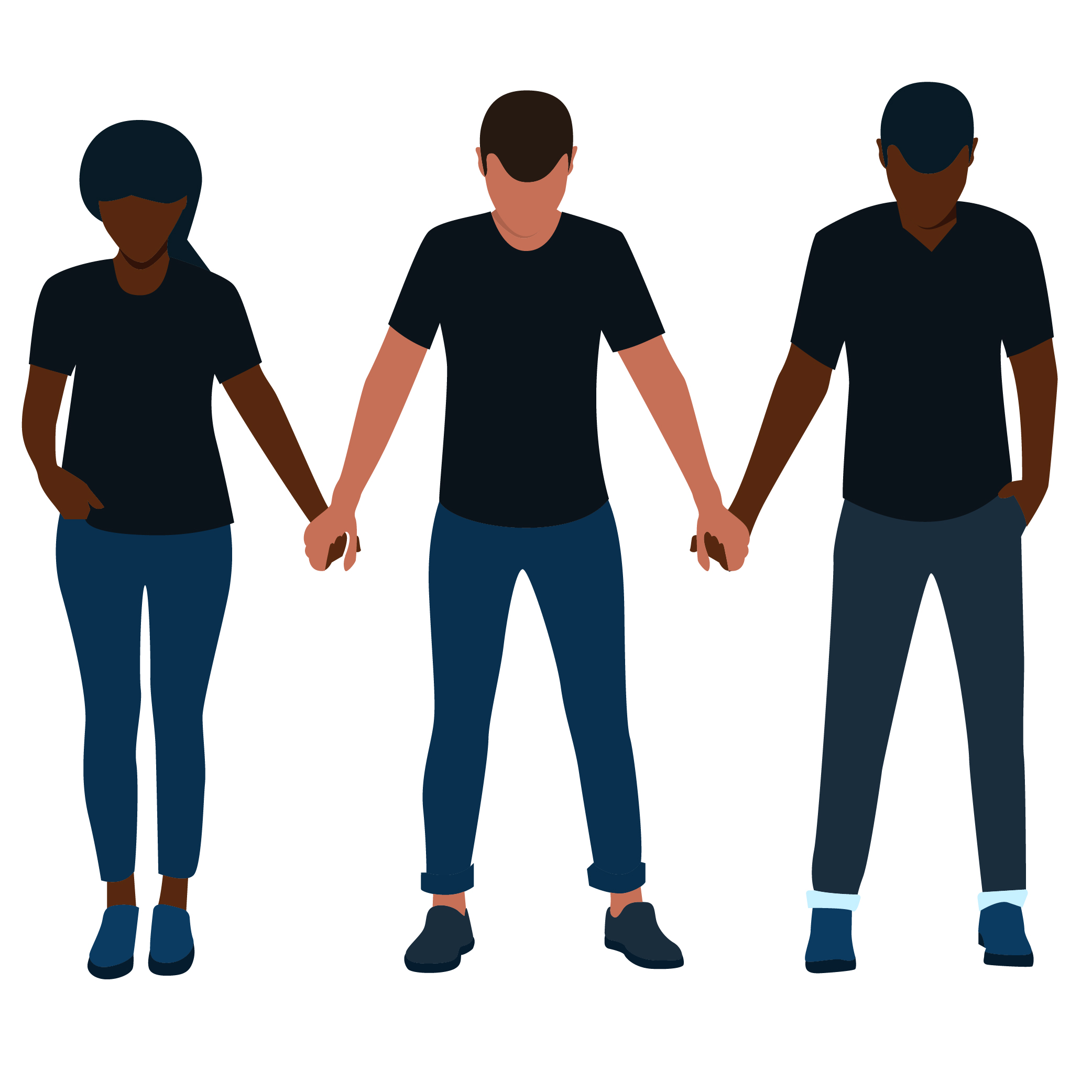 Two Black men and a Black woman stand holding hands in solidarity
