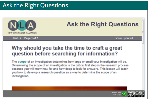 screenshot of ask the right questions tutorial