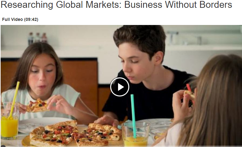 screenshot of the researching global markets video start page