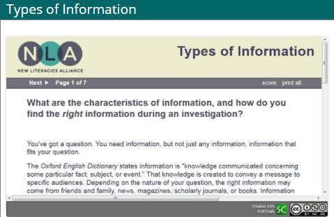 screenshot of types of information tutorial