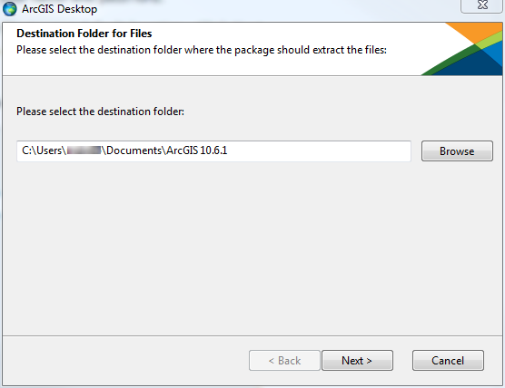 ArcGIS Desktop installer automatically uses C\:Users\your username\Documents\ArcGIS 10.x.x to extract the installation files.