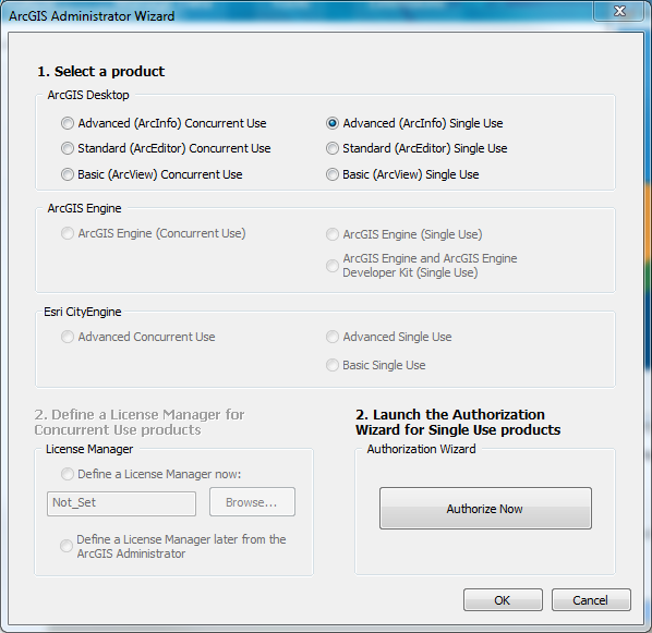 In the ArcGIS Administrator Wizard under 1. Select a product, select Advanced (ArcInfo) Single Use.