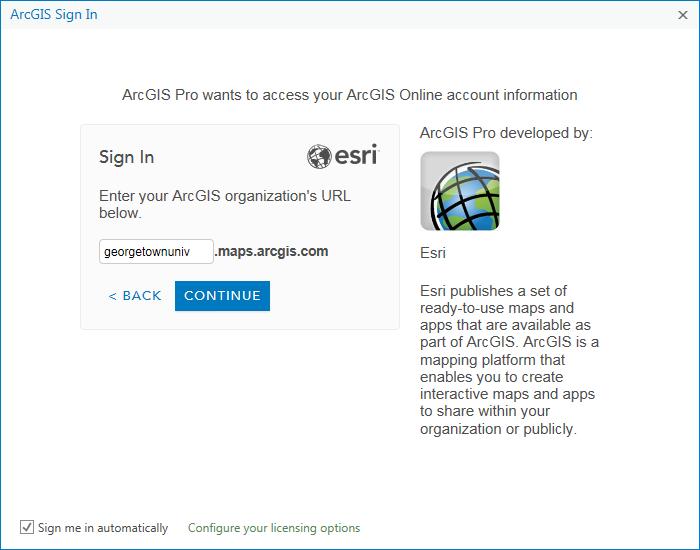 Enter georgetownuniv into the URL field. Click Continue.