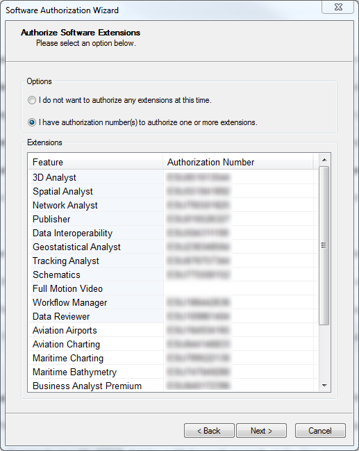 Authorize all extensions by selecting I have authorization number(s) to authorize one or more extensions. Click Next.