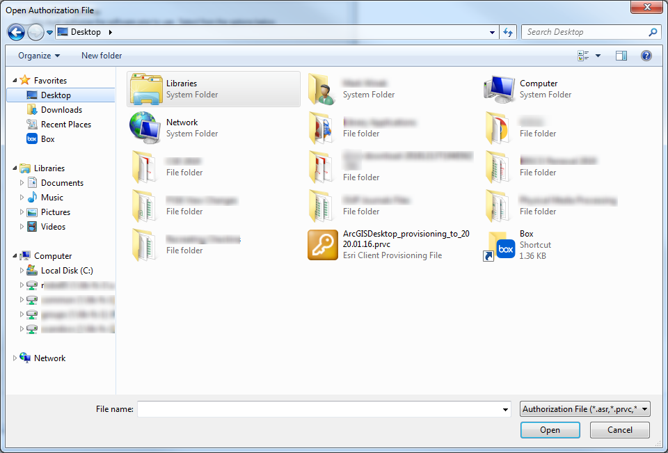Using the file navigator, locate the authorization file you downloaded and saved earlier. The file ends in .prvc.