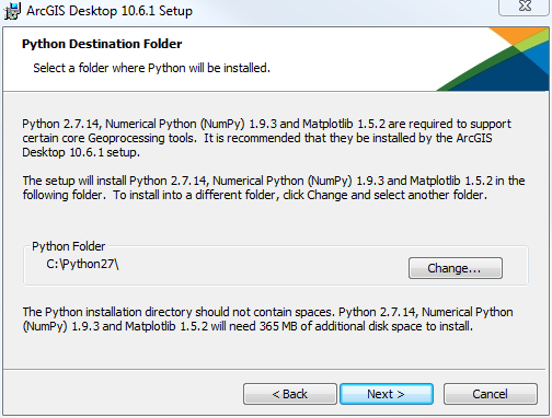Select the location where you would like the Python scripting language package installed. This is required to run ArcGIS Desktop (ArcMap). The default location is generally fine. Click Next.