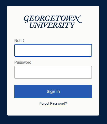 Standard Georgetown NetID and password login page.