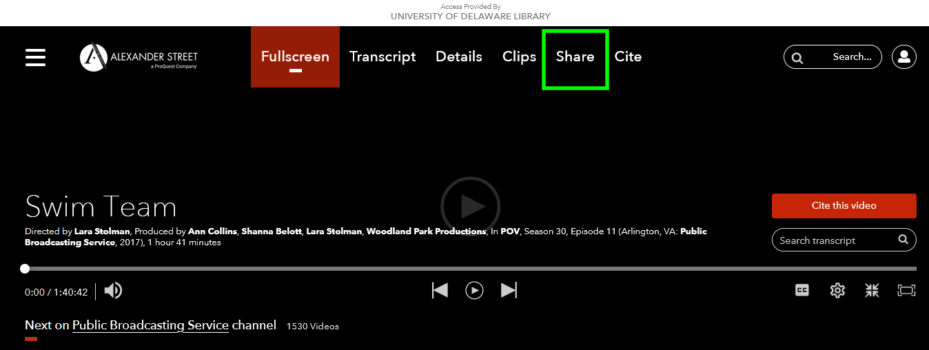 Alexander Street Streaming media player on their website Share buttong highlighted