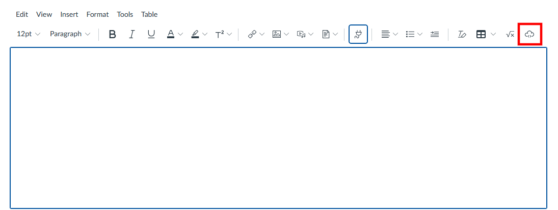 Red box around embed button on menu, the icon is a cloud