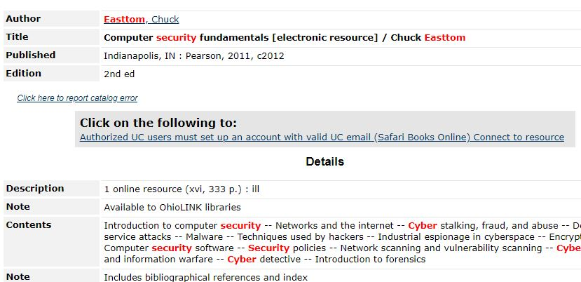 """The grey box titled """"Click on following to"""" in a library catalog record."""