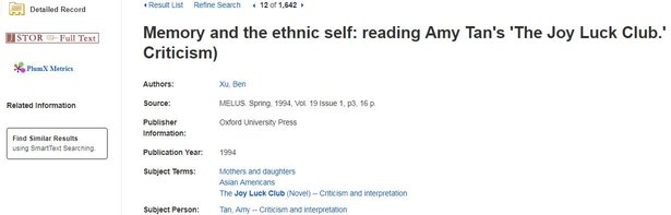 Example Article is in JSTOR, with Link Indicated on Left Side