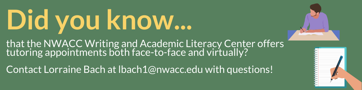 Did you know that the writing center offers appointments? Contact Lorraine Bach or click the image to learn more.