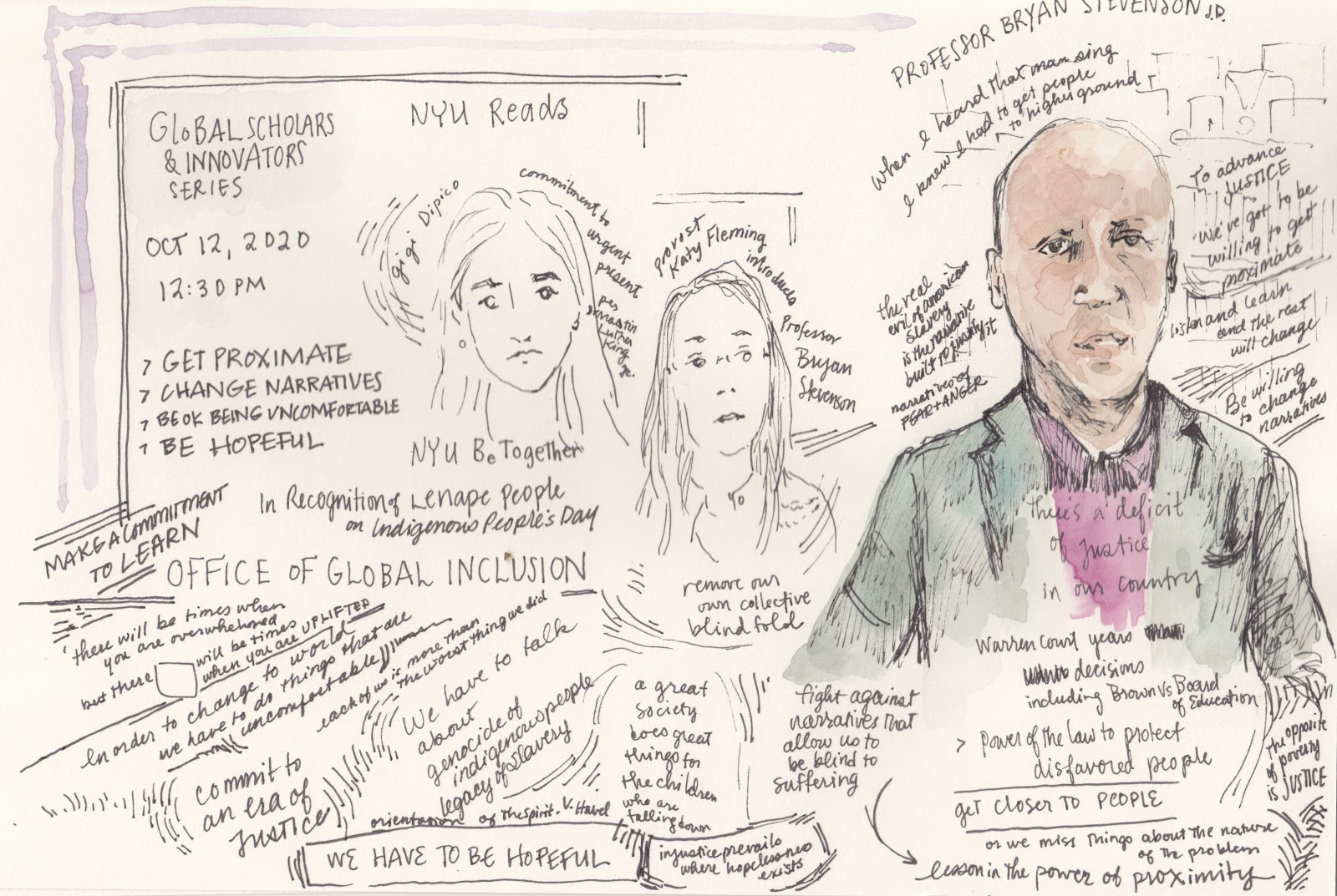 Photo of Professor Bryan Stevenson surrounded by notes with two other faces sketched in pencil