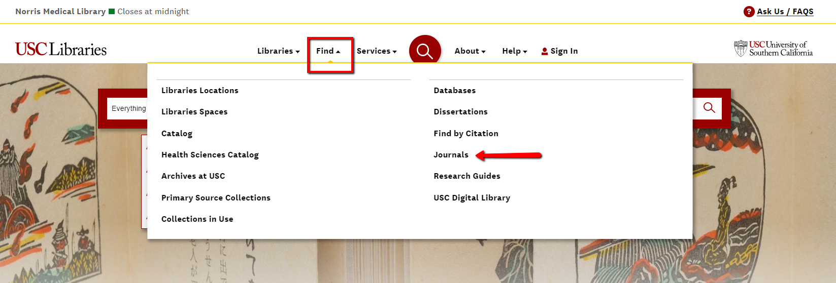 "Journal link from ""Find"" tab on libraries homepage"
