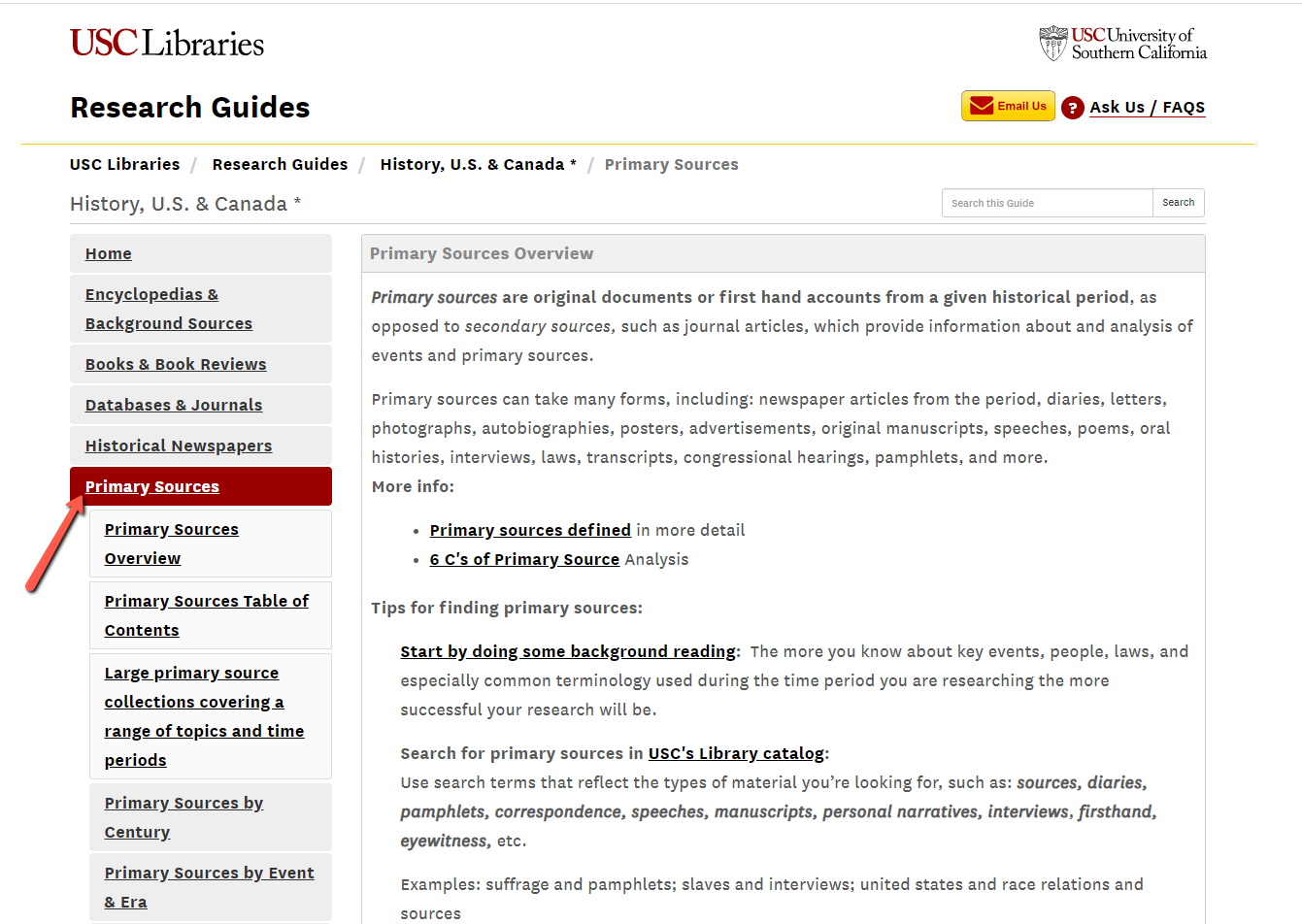 Image of History Research Guide Primary Sources Page
