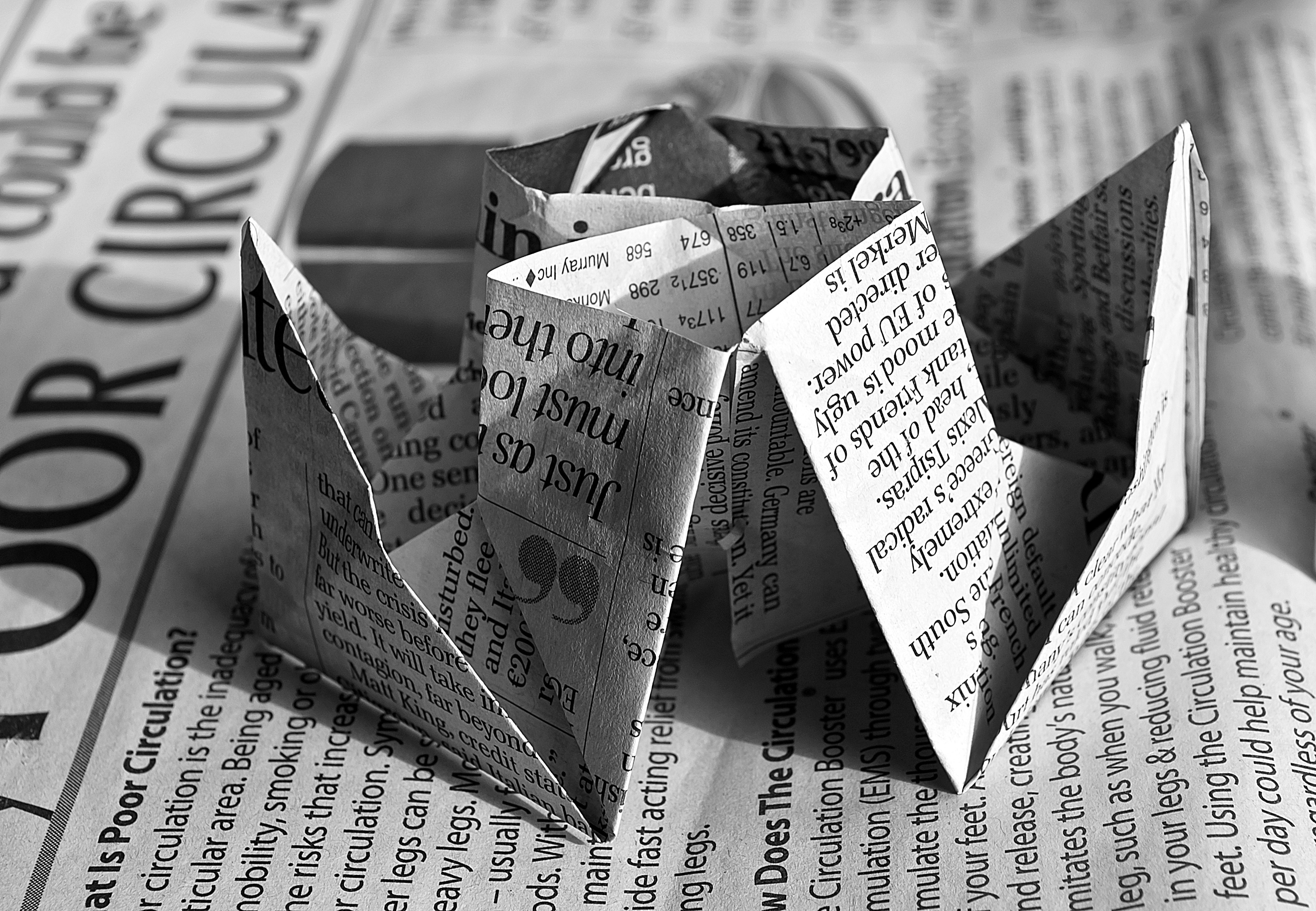 Newspaper Origami by Public Domain Pictures (used under CC BY-NC 2.0)