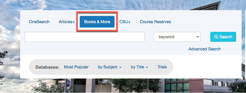 Image of the OneSearch box on the CSUSM Library homepage with a red box around Books & More to show where to click for the library catalog.