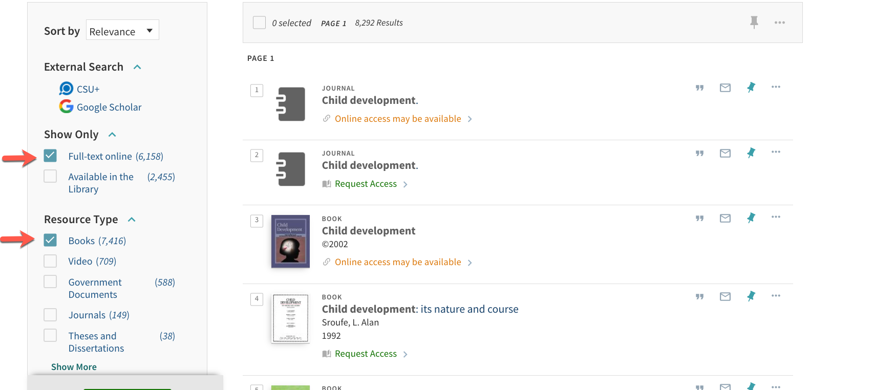 "An image of the results page after clicking on Search for child development books.  There are arrows pointing to the facets ""Full-text online,"" Books"" and then the ""Apply Filters"" button."