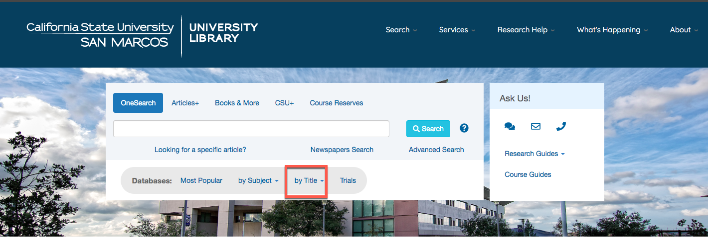 Image of the place on the homepage where the databases are located, By Title is circled