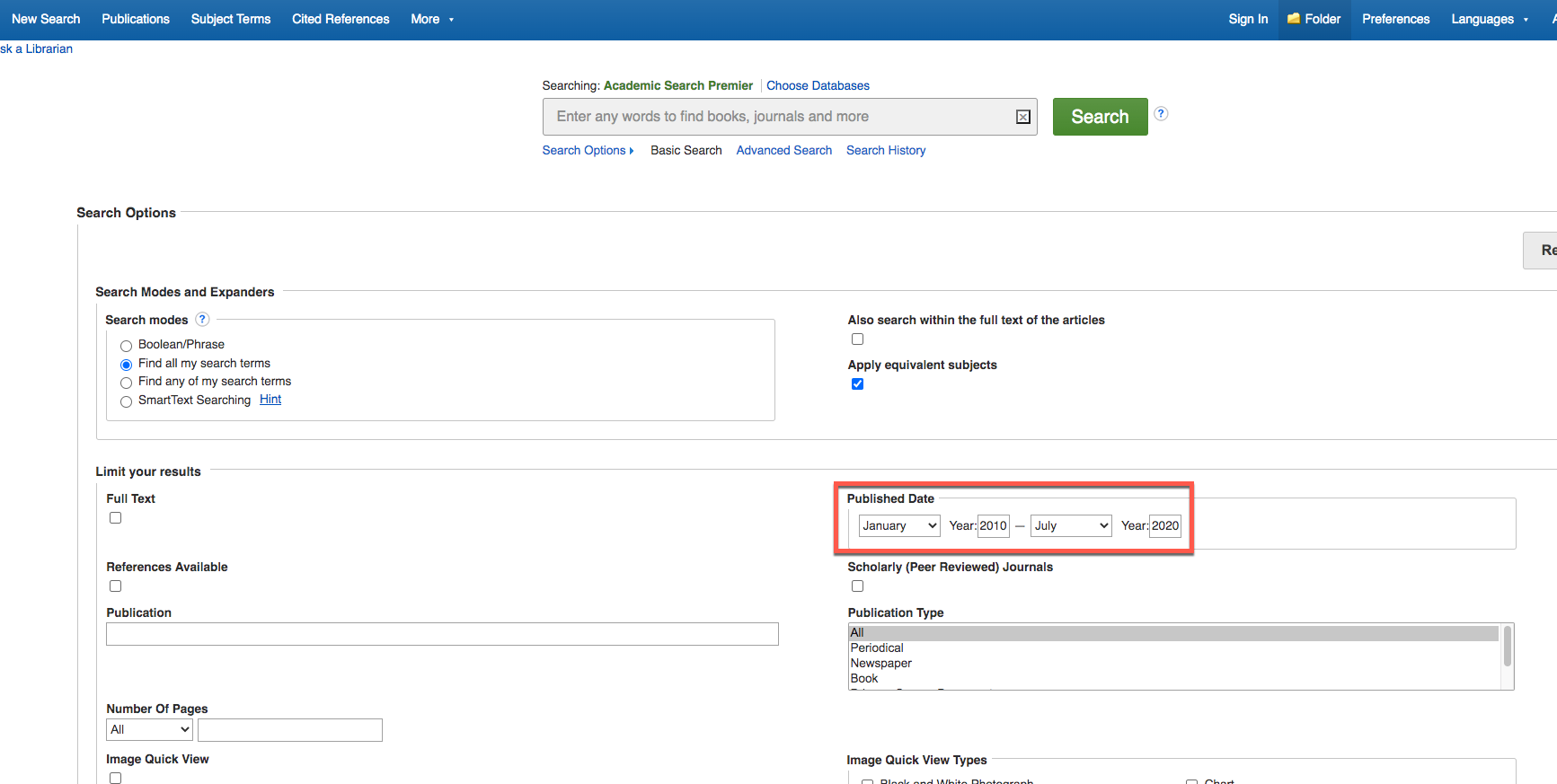 EBSCOHost Advanced Search with red box around Date Range