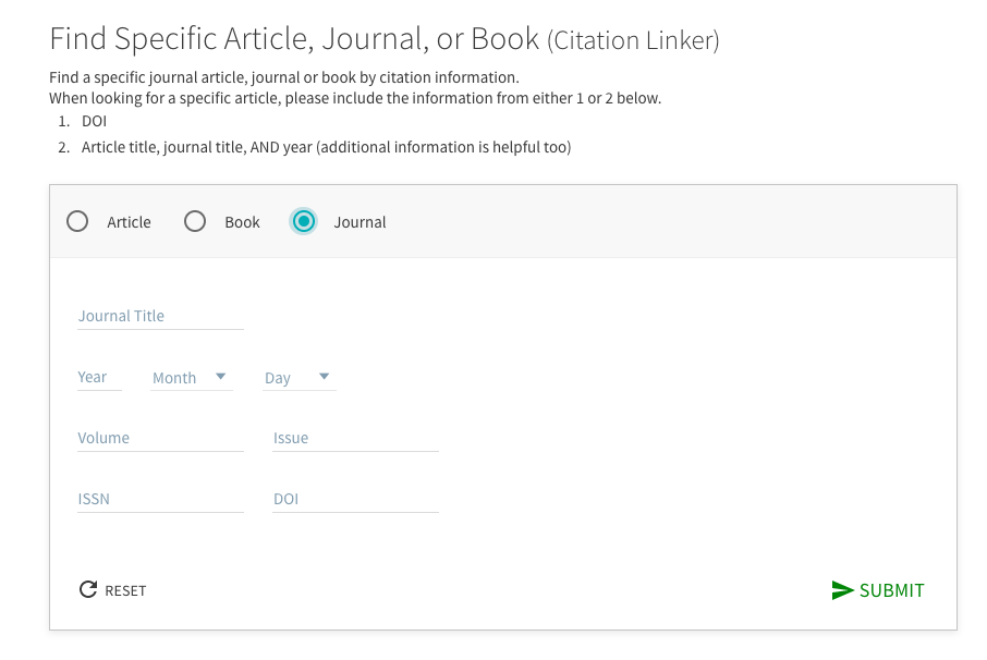 An image of the Find a Specific, Article, Book, Journal Page with the Journal button chosen.