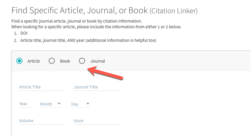 This is an image of the form that says Find Specific Article, Book, or Journal.  There is an arrow pointing to the Journal button toggle.