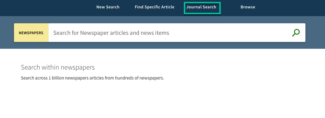 A screenshot that shows the Newspapers Searchbox with a green box around Journal Search
