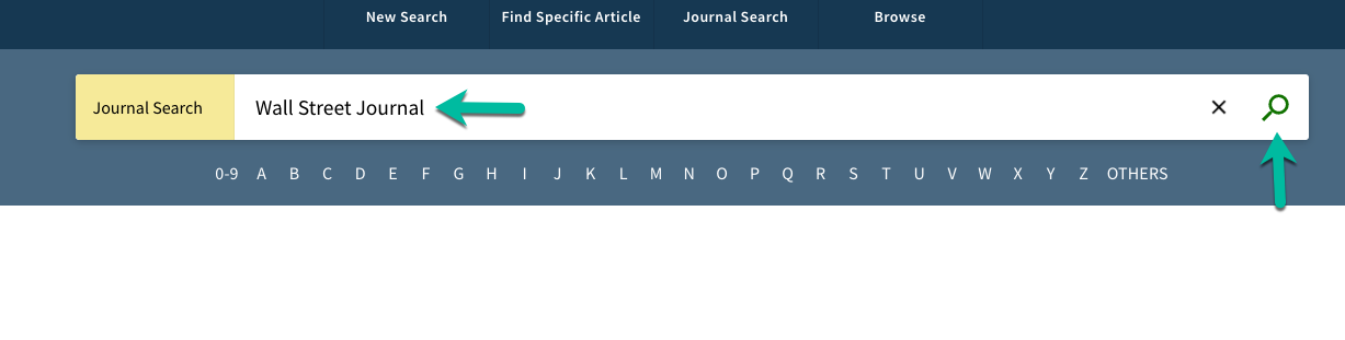 A screenshot of Journal Search with Wall Street Journal typed in and an arrow pointing to magnifying box to search.